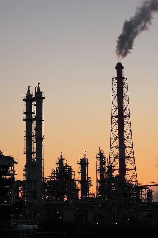 Built Structure Art Print featuring the photograph Silhouette Of Petrochemical Plant by Hiro/amanaimagesrf