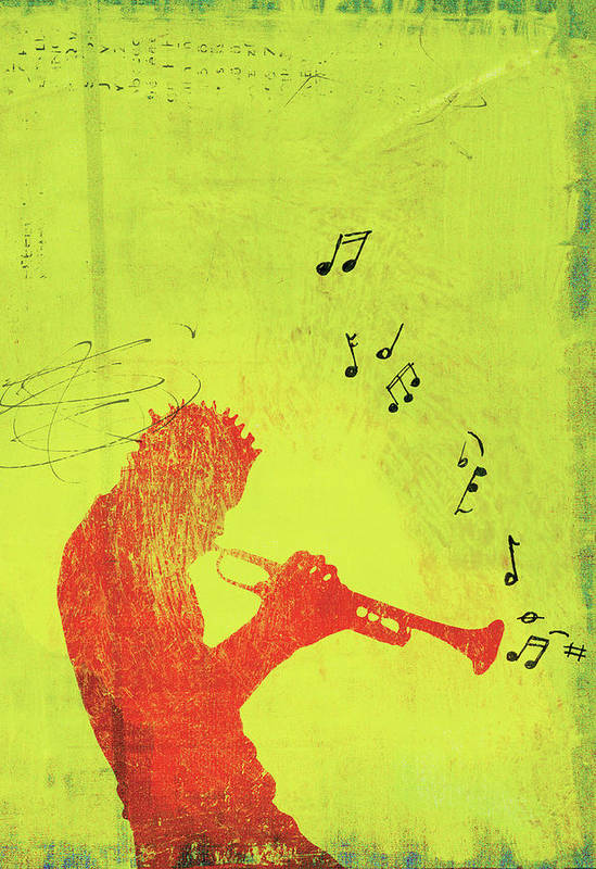 One Man Only Art Print featuring the digital art Silhouette Of Trumpet Player by Darren Hopes