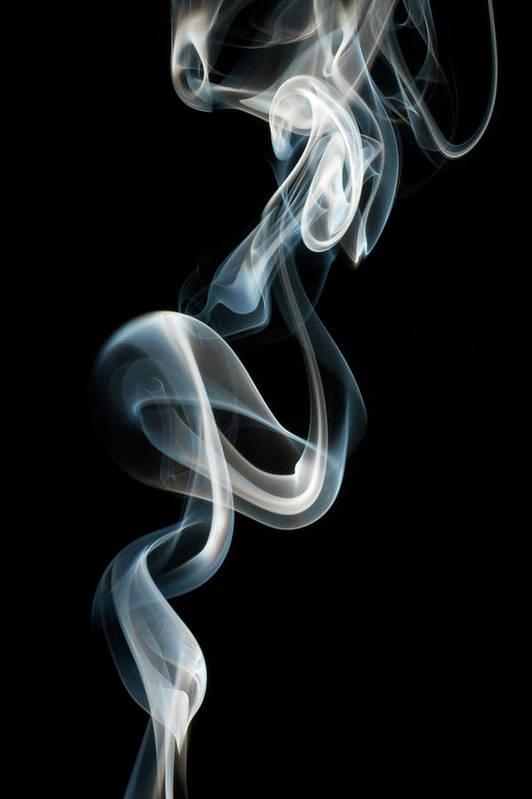 Black Background Art Print featuring the photograph Smoke by Vando Nascimento