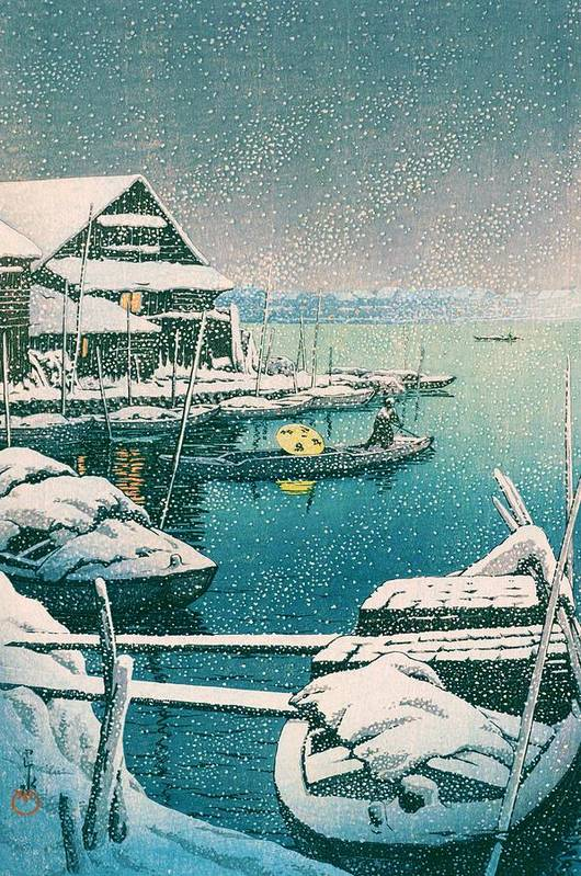 Kawase Hasui Art Print featuring the painting SNOW MUKOJIMA - Top Quality Image Edition by Kawase Hasui