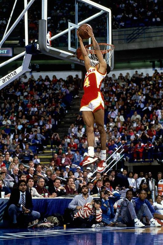 1980-1989 Art Print featuring the photograph Spud Webb Reverse Dunk Slam Dunk by Andrew D. Bernstein