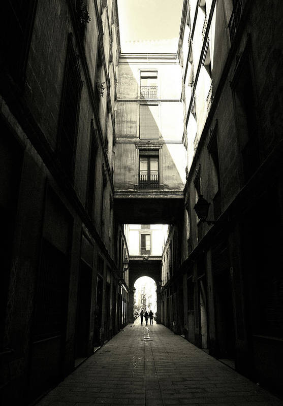 Arch Art Print featuring the photograph Street In Barcelona by Maria Fernandez