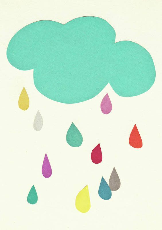Clouds Art Print featuring the mixed media Sunshine and Showers by Cassia Beck