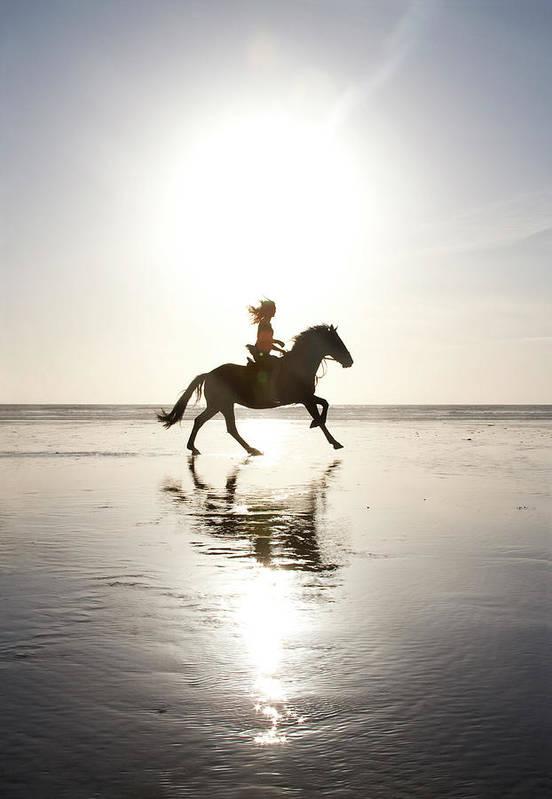 Horse Art Print featuring the photograph Teenage Girl Riding Horse On Beach by Jo Bradford / Green Island Art Studios