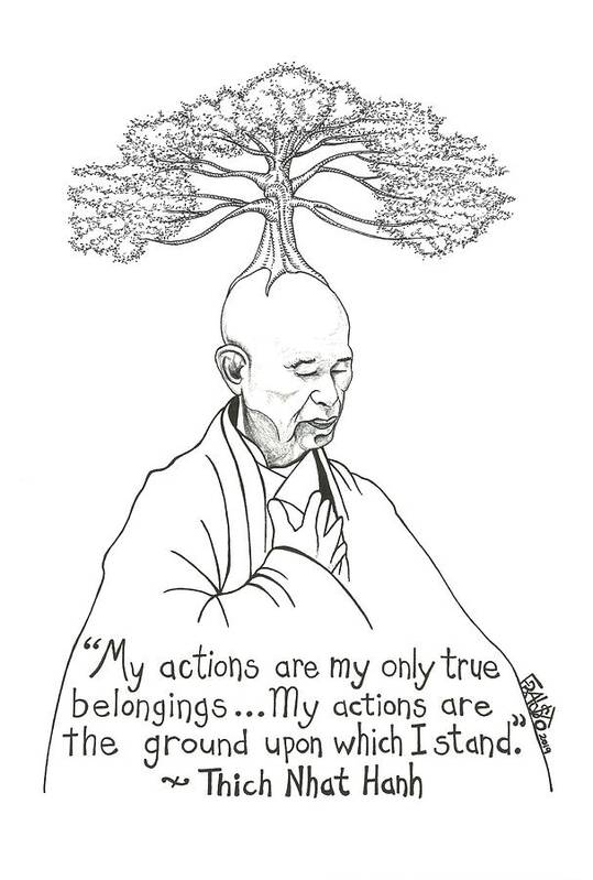 Pen And Ink Illustration Art Print featuring the drawing Thich Nhat Hanh Drawing by Rick Frausto