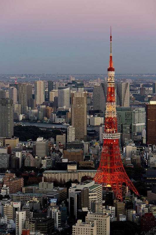 Tokyo Tower Art Print featuring the photograph Tokyo Tower At Dusk by Lluís Vinagre - World Photography