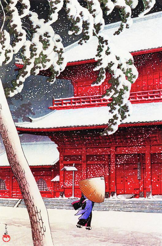 Kawase Hasui Art Print featuring the painting Twenty Views of Tokyo, Zojo Temple, Shiba - Digital Remastered Edition by Kawase Hasui