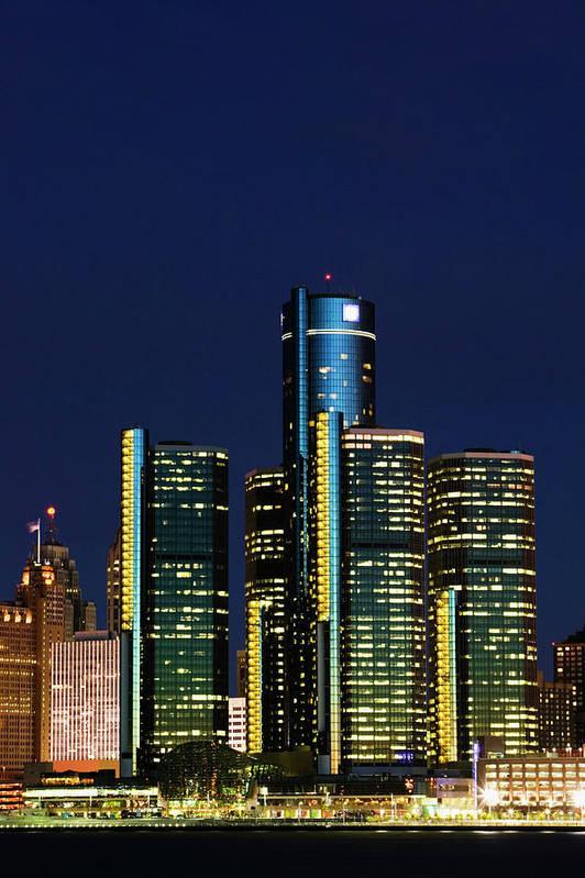 Detroit Art Print featuring the photograph Usa, Michigan, Detroit, Skyline & by Walter Bibikow