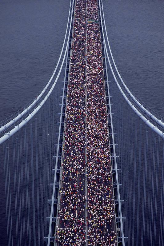 Crowd Art Print featuring the photograph Usa, New York City, Marathon Race by Joanna Mccarthy