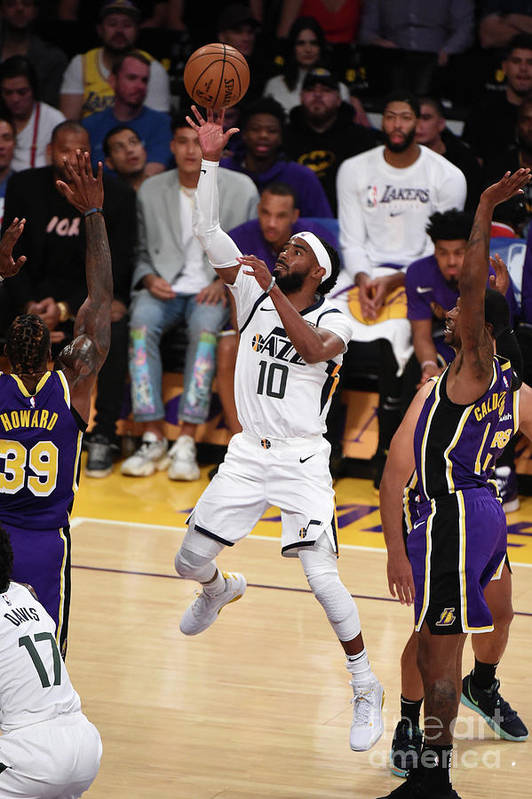 Nba Pro Basketball Art Print featuring the photograph Utah Jazz V Los Angeles Lakers by Adam Pantozzi