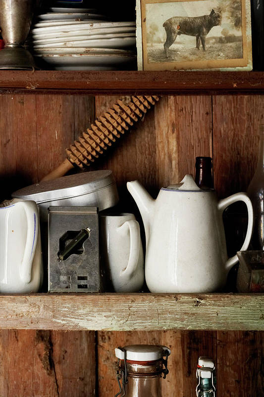Bohuslan Art Print featuring the photograph View Of Old Crockery In Flea Market by Johner Images