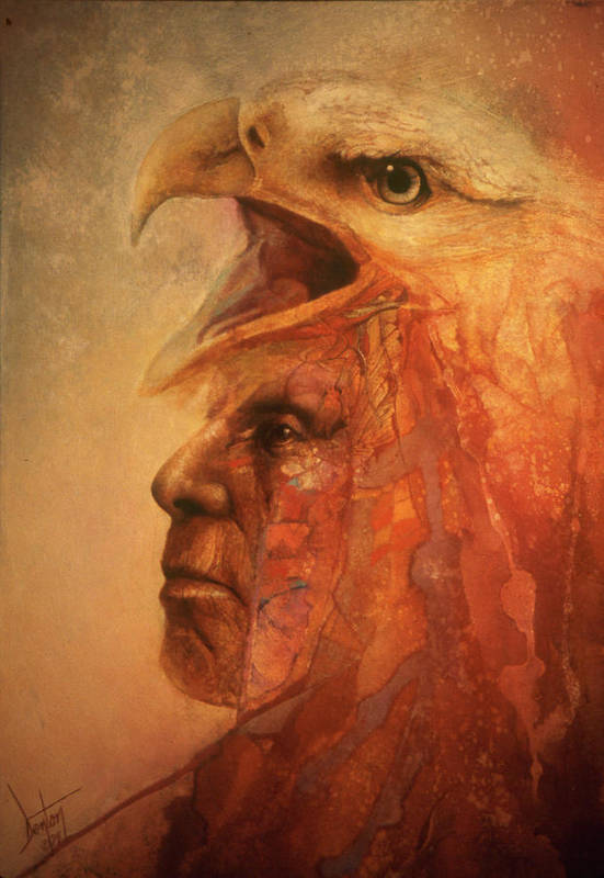 Indian Chief With Eagle On His Head Art Print featuring the painting War Eagle by Denton Lund