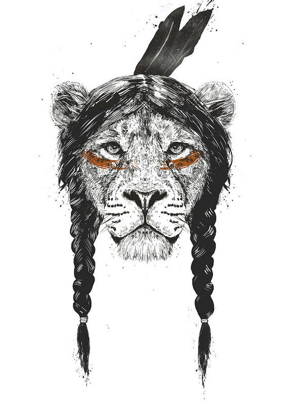 Lion Art Print featuring the drawing Warrior lion by Balazs Solti