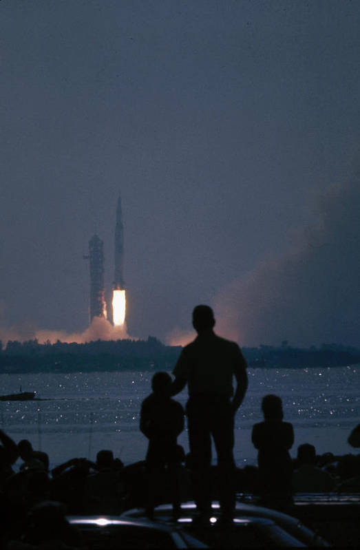 Timeincown Art Print featuring the photograph Watching The Apollo 11 Launch by Ralph Crane