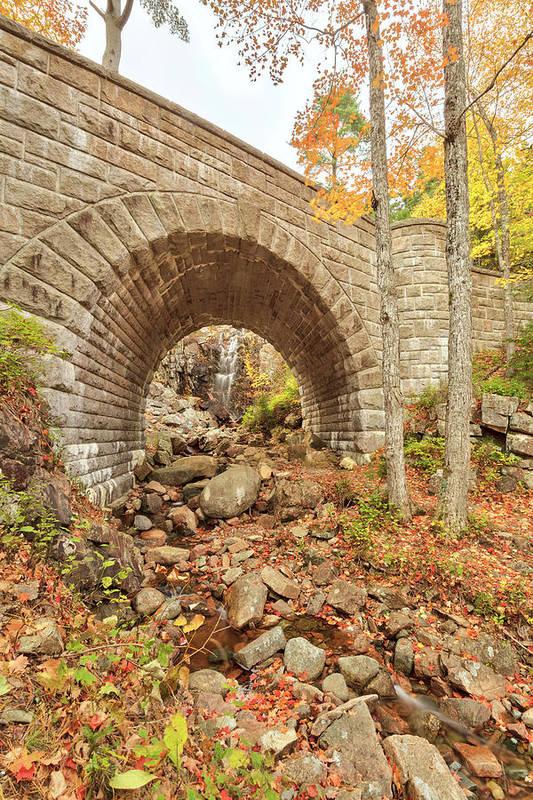 Scenics Art Print featuring the photograph Waterfall Bridge, Autumn, Acadia by Picturelake