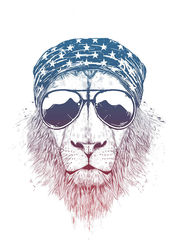 Lion Art Print featuring the drawing Wild lion II by Balazs Solti