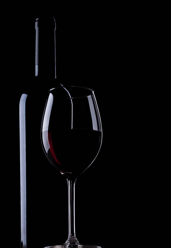 Curve Art Print featuring the photograph Wine Bottle And Glass by Portishead1