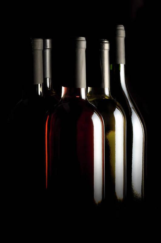 Rose Wine Art Print featuring the photograph Wine Bottles by Carlosalvarez