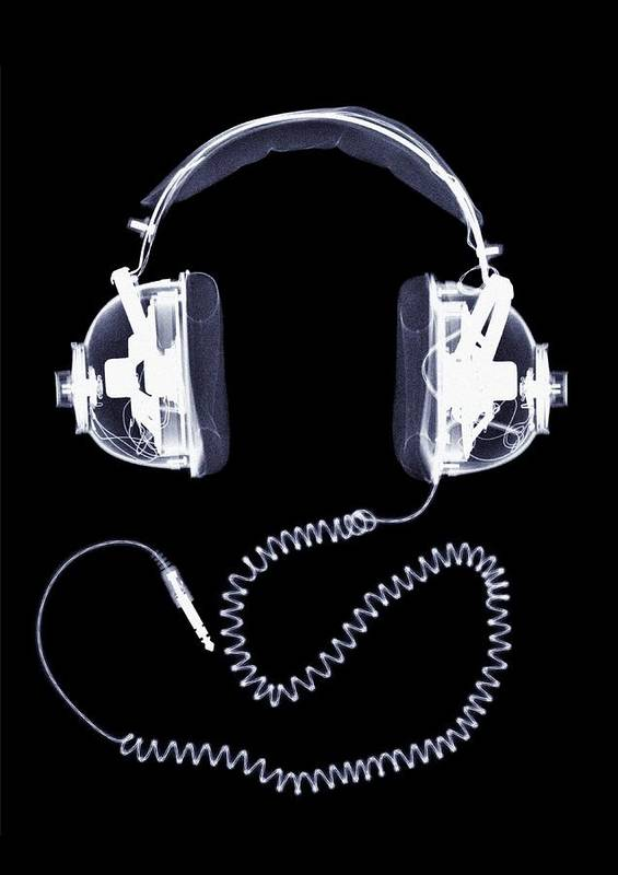 Music Art Print featuring the photograph X-ray Of Headphones by Nick Veasey