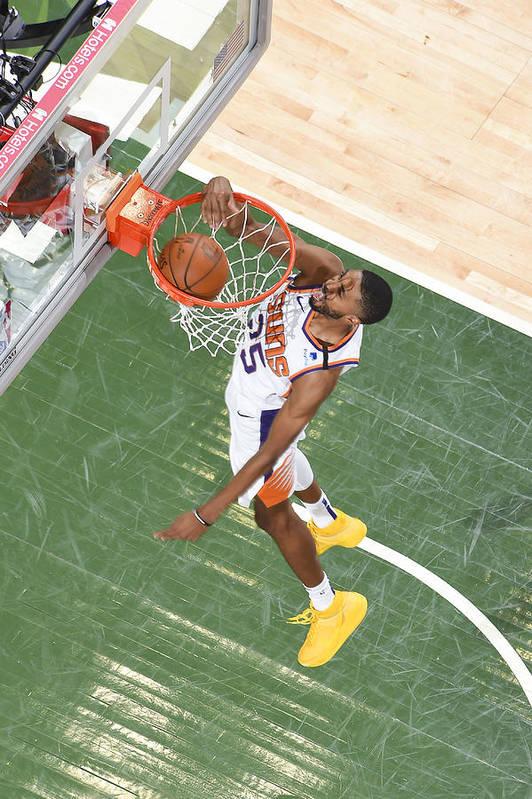 Playoffs Art Print featuring the photograph 2021 NBA Playoffs - Phoenix Suns v Milwaukee Bucks by Andrew D. Bernstein