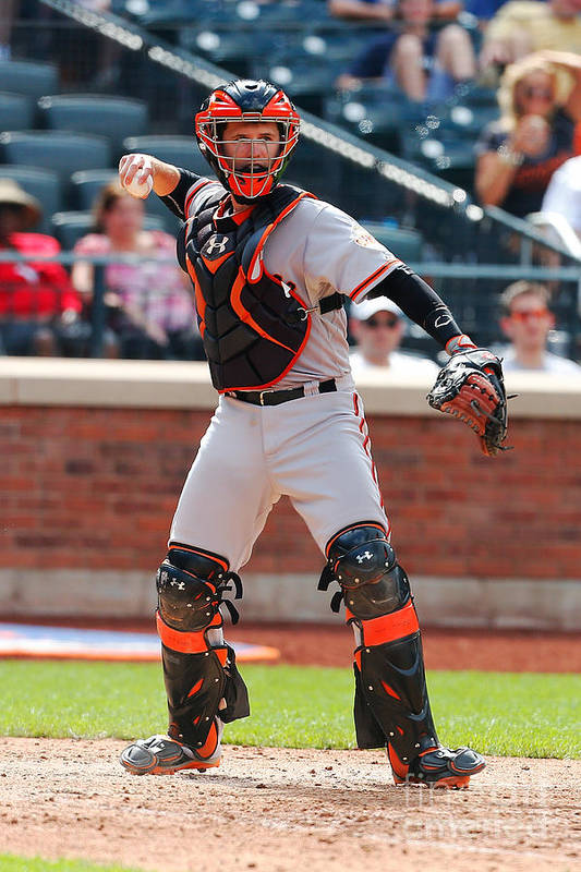 American League Baseball Art Print featuring the photograph Buster Posey by Mike Stobe