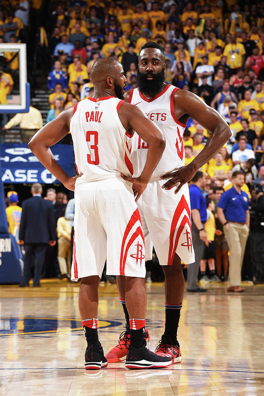 Playoffs Art Print featuring the photograph Chris Paul and James Harden by Andrew D. Bernstein