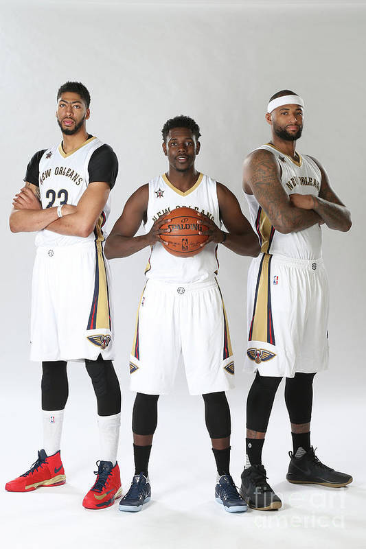 Nba Pro Basketball Art Print featuring the photograph Demarcus Cousins, Jrue Holiday, and Anthony Davis by Layne Murdoch