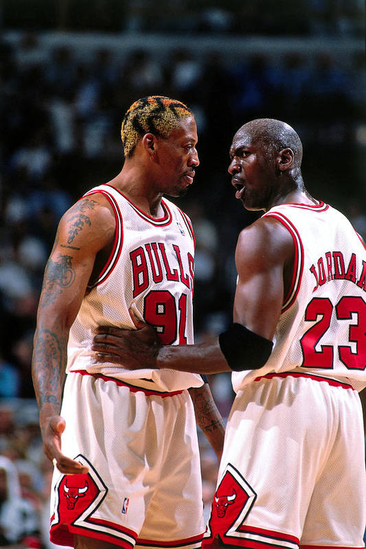 Chicago Bulls Art Print featuring the photograph Dennis Rodman and Michael Jordan by Nathaniel S. Butler