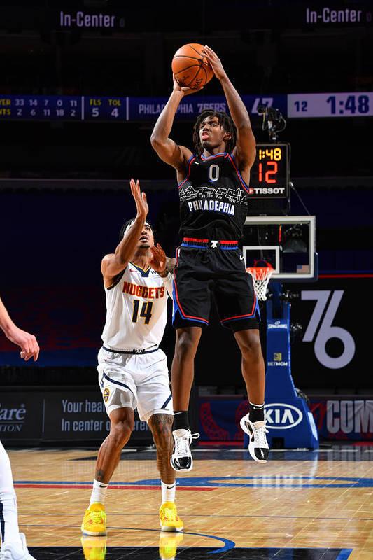 Nba Pro Basketball Art Print featuring the photograph Denver Nuggets v Philadelphia 76ers by Jesse D. Garrabrant