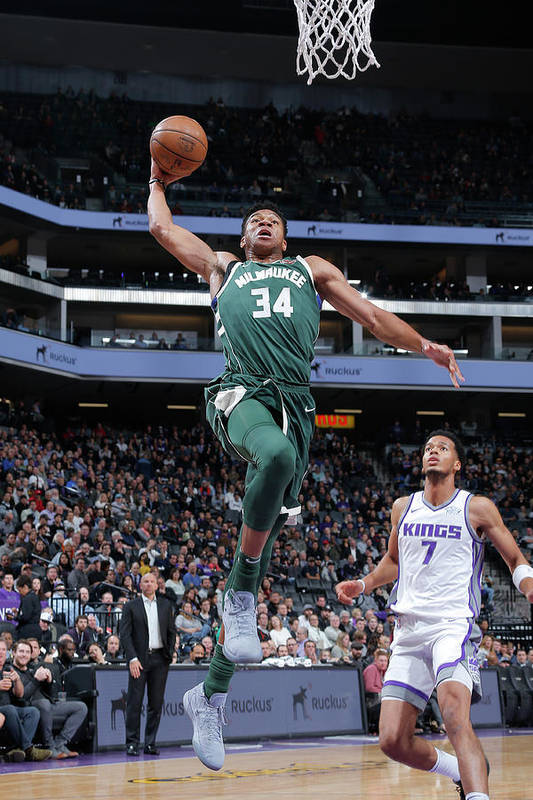 Nba Pro Basketball Art Print featuring the photograph Giannis Antetokounmpo by Rocky Widner
