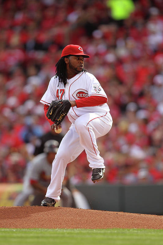 Great American Ball Park Art Print featuring the photograph Johnny Cueto by John Grieshop
