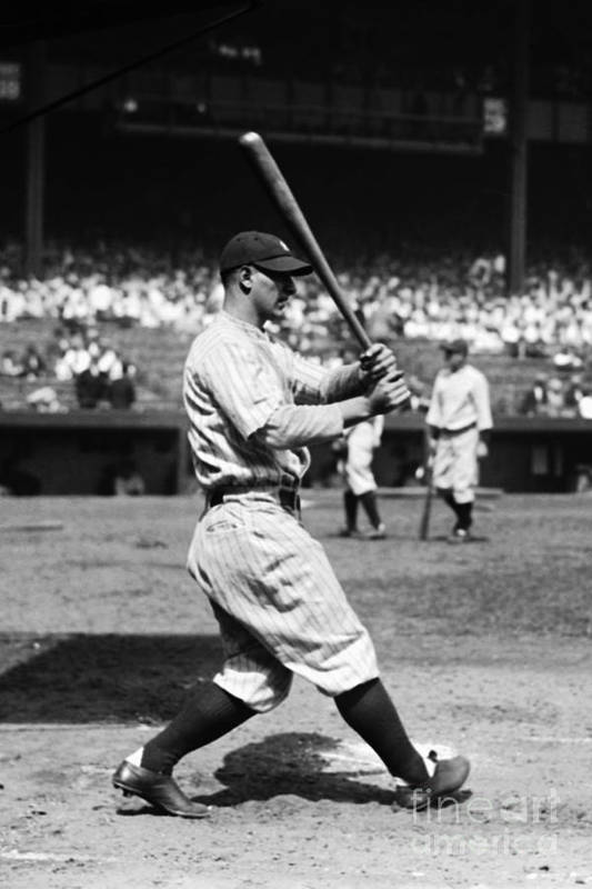 American League Baseball Art Print featuring the photograph Lou Gehrig by Kidwiler Collection
