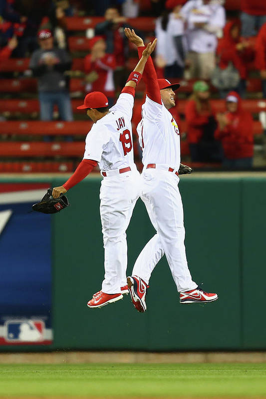 St. Louis Cardinals Art Print featuring the photograph Matt Holliday and Jon Jay by Dilip Vishwanat