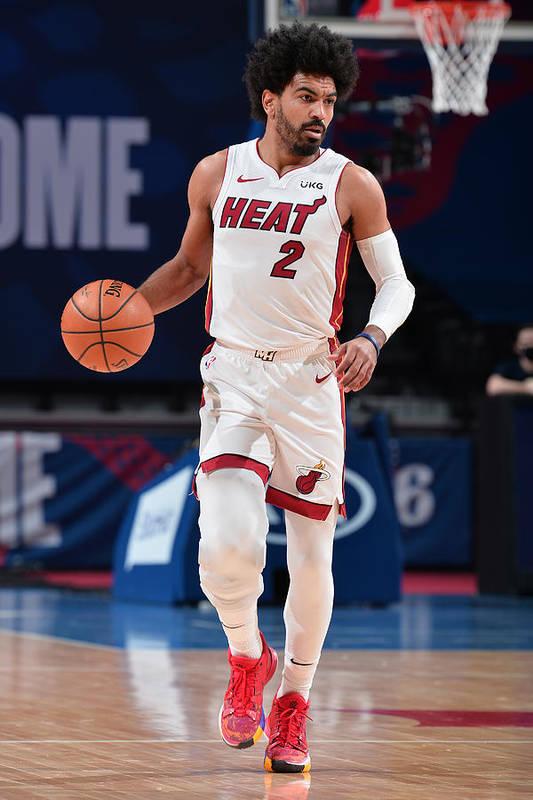 Nba Pro Basketball Art Print featuring the photograph Miami Heat v Philadelphia 76ers by David Dow