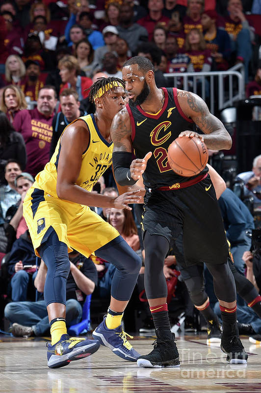 Playoffs Art Print featuring the photograph Myles Turner and Lebron James by David Liam Kyle