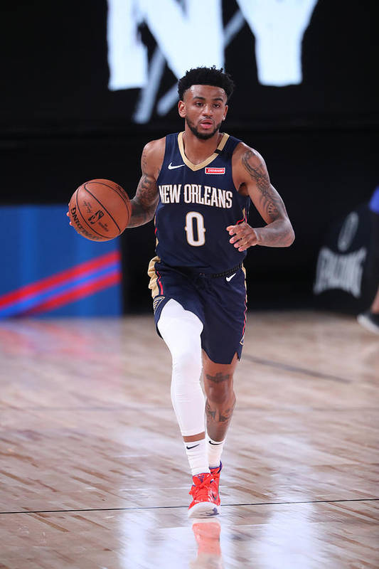 Nba Pro Basketball Art Print featuring the photograph New Orleans Pelicans v Brooklyn Nets by Joe Murphy