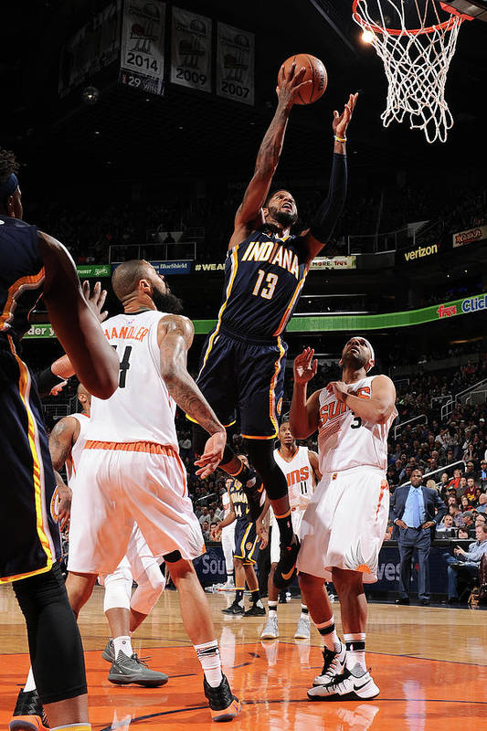 Nba Pro Basketball Art Print featuring the photograph Paul George by Barry Gossage