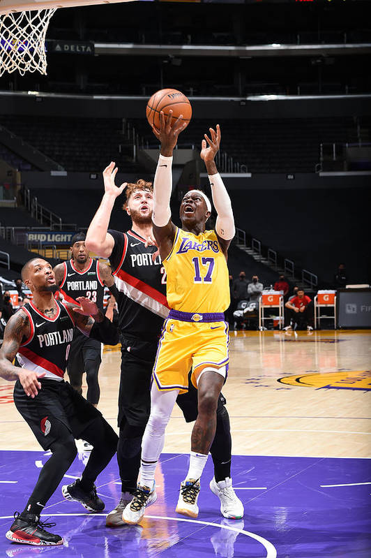 Nba Pro Basketball Art Print featuring the photograph Portland Trail Blazers v LA Lakers by Adam Pantozzi