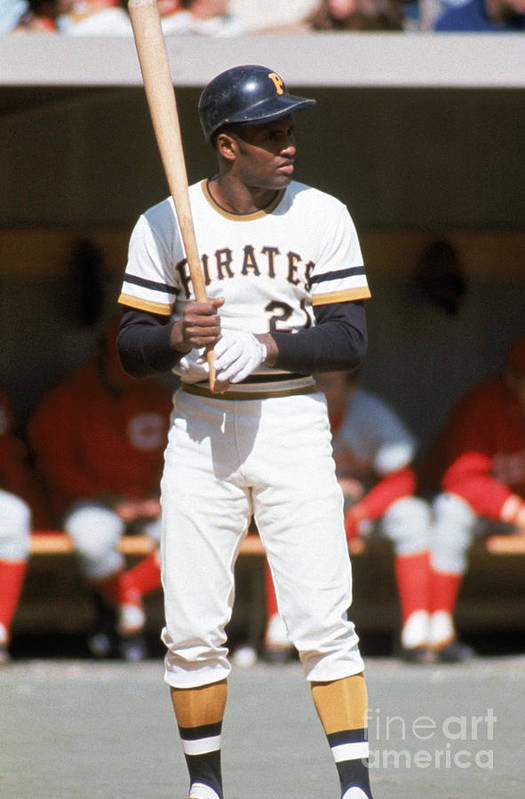 Sports Bat Art Print featuring the photograph Roberto Clemente by Mlb Photos