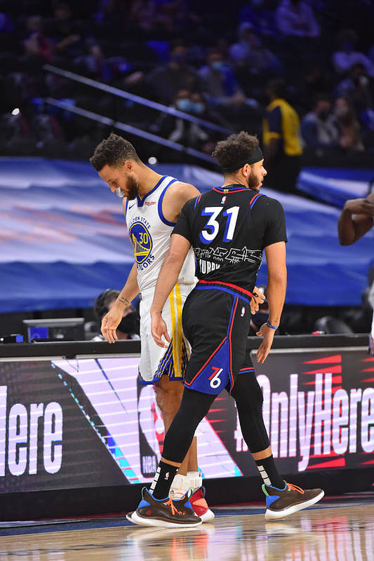 Nba Pro Basketball Art Print featuring the photograph Stephen Curry and Seth Curry by Jesse D. Garrabrant