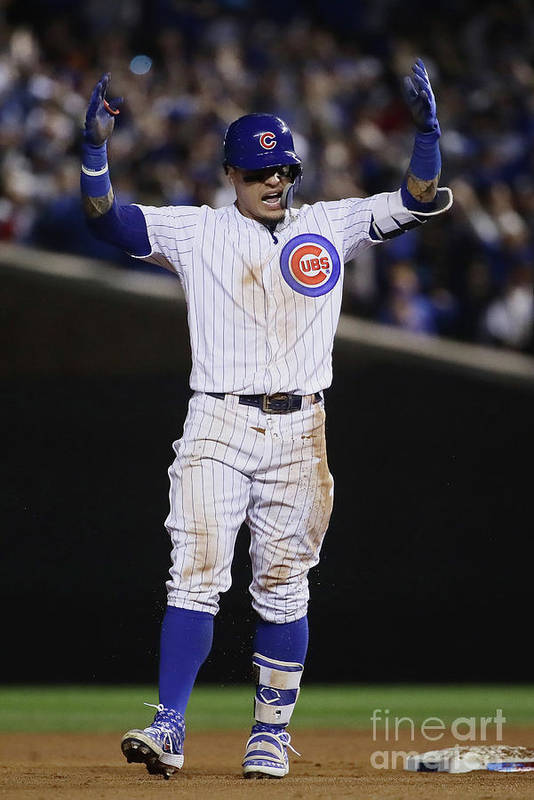 Playoffs Art Print featuring the photograph Terrance Gore and Javier Baez by Jonathan Daniel