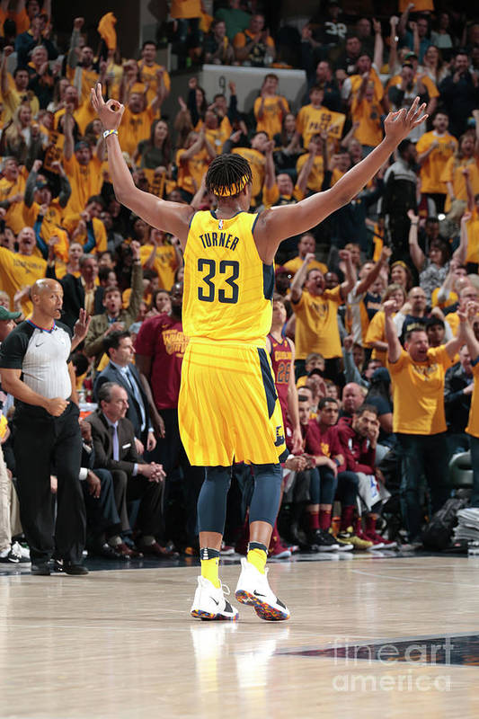 Playoffs Art Print featuring the photograph Myles Turner by Ron Hoskins