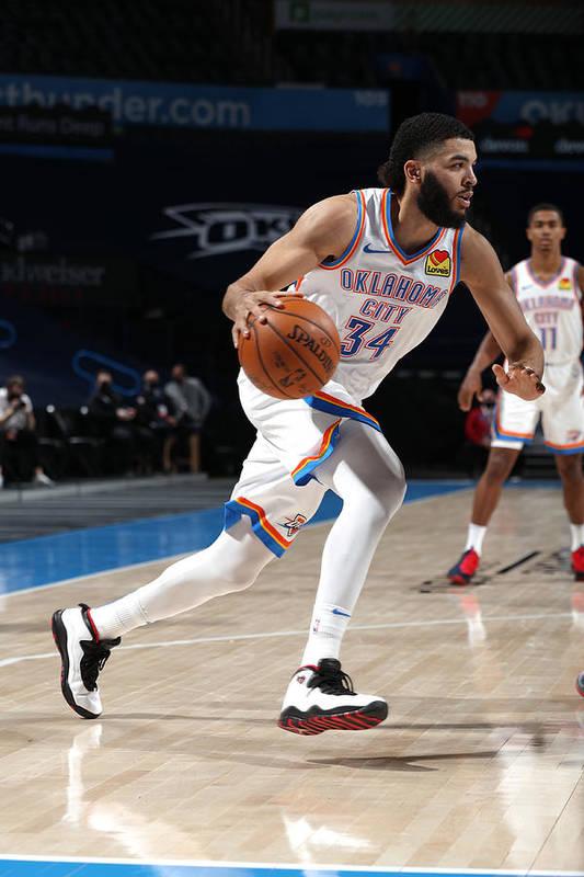 Nba Pro Basketball Art Print featuring the photograph San Antonio Spurs v Oklahoma City Thunder by Zach Beeker