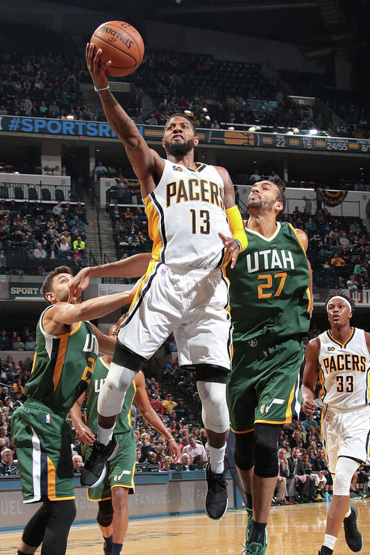 Nba Pro Basketball Art Print featuring the photograph Paul George by Ron Hoskins