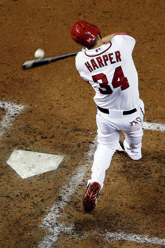 American League Baseball Art Print featuring the photograph Bryce Harper by Rob Carr