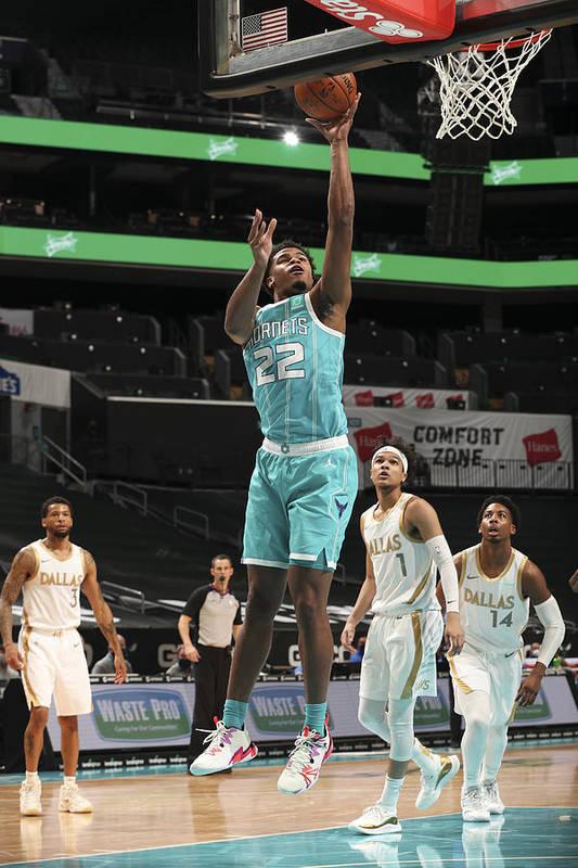 Nba Pro Basketball Art Print featuring the photograph Dallas Mavericks v Charlotte Hornets by Kent Smith