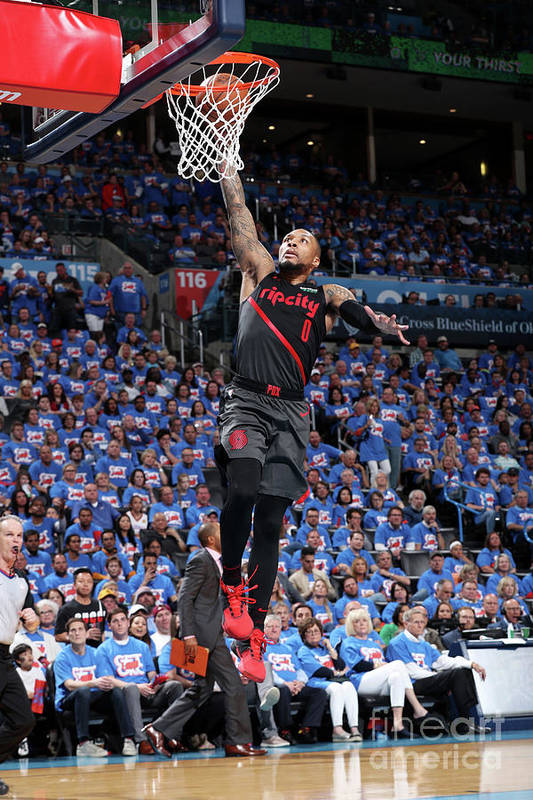 Playoffs Art Print featuring the photograph Damian Lillard by Joe Murphy