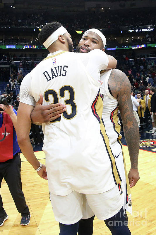Smoothie King Center Art Print featuring the photograph Demarcus Cousins and Anthony Davis by Layne Murdoch