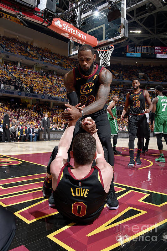 Playoffs Art Print featuring the photograph Kevin Love and Lebron James by David Liam Kyle