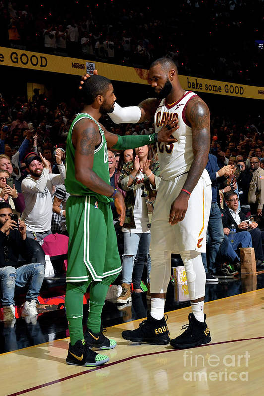Nba Pro Basketball Art Print featuring the photograph Kyrie Irving and Lebron James by Jesse D. Garrabrant